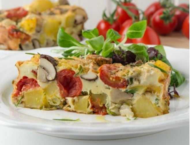 Potato Mushroom Frittata With Melted Cherry Tomatoes From The Air Fryer 1