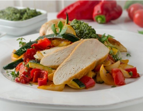 Chicken Breast On Grilled Vegetables From The Air Fryer 1